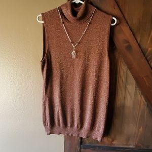 Cute for the holidays  sleeveless  turtle neck